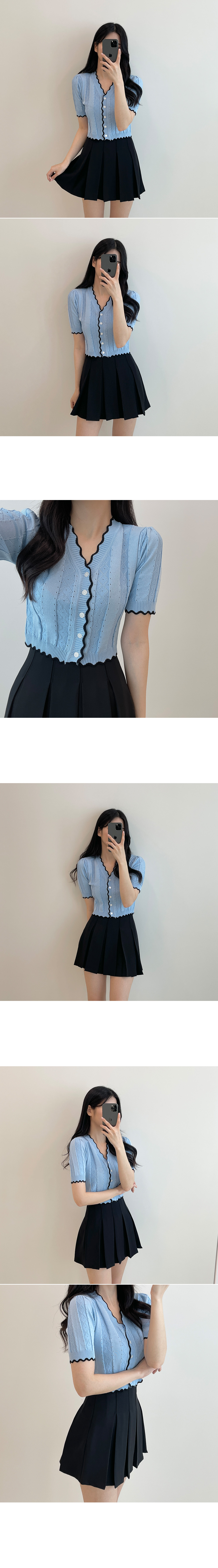 Pretty today, wave color matching Knitwear short sleeve cardigan