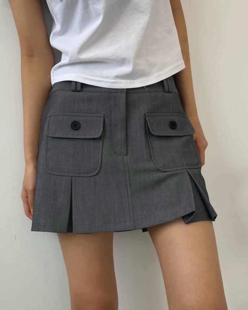 Hunter pocket pleated mini skirt 裙子