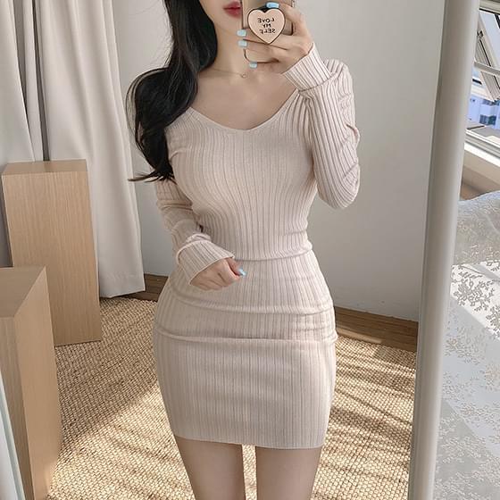 Volume V Ribbed Dress 迷你短洋裝