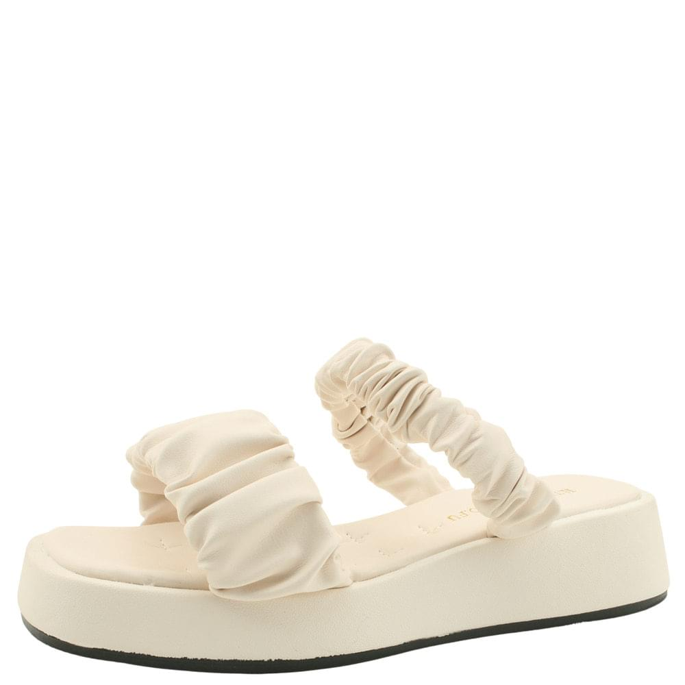Shirring Strap Whole Heel Mules Slippers Beige