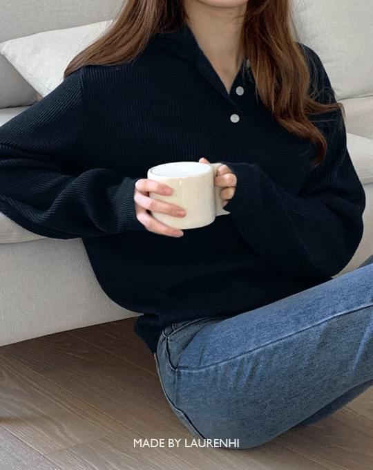 Morgan Ribbed Collar Button Knitwear - 4 color