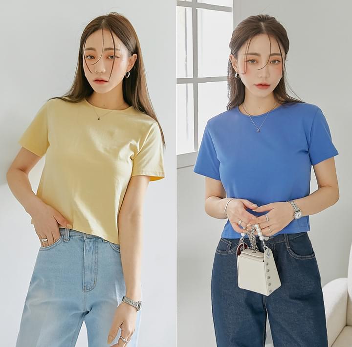 Short Sleeve Boxy Cropped T-Shirt