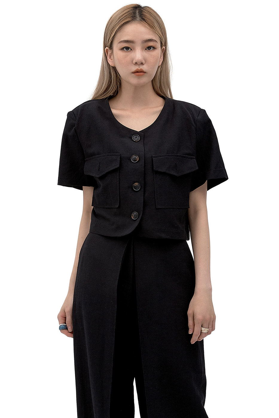 August linen short jacket