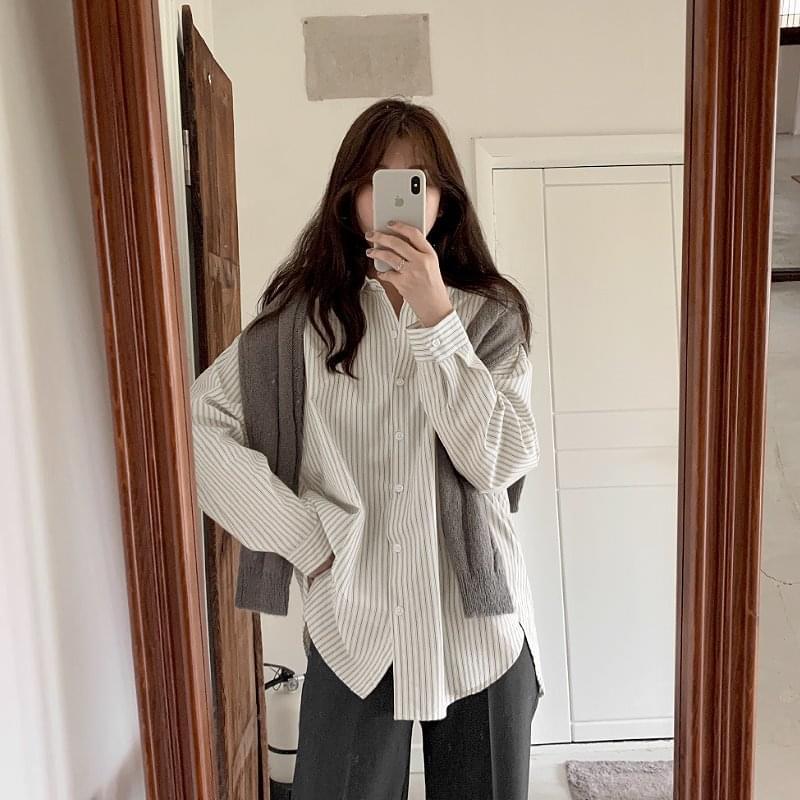 直條紋寬鬆純棉襯衫- 3 color
