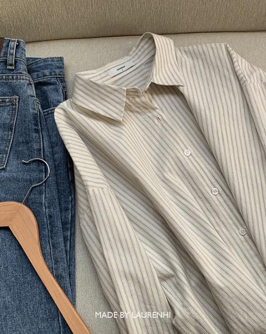 Striped Loose-fit Cotton Shirt - 3 color