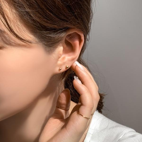 Set of 3 Silver 925 Daily Simple Ball Earrings