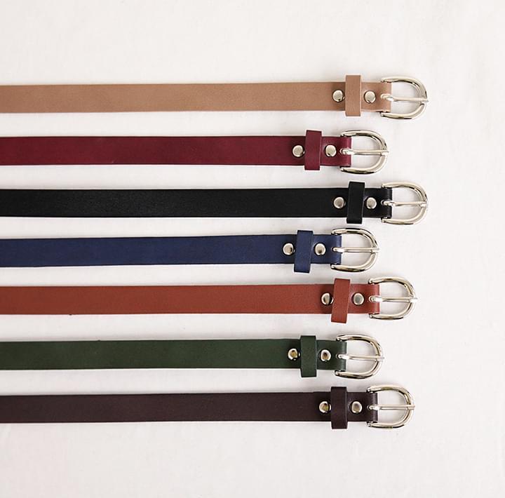 Silver-Tone Buckle Leatherette Belt