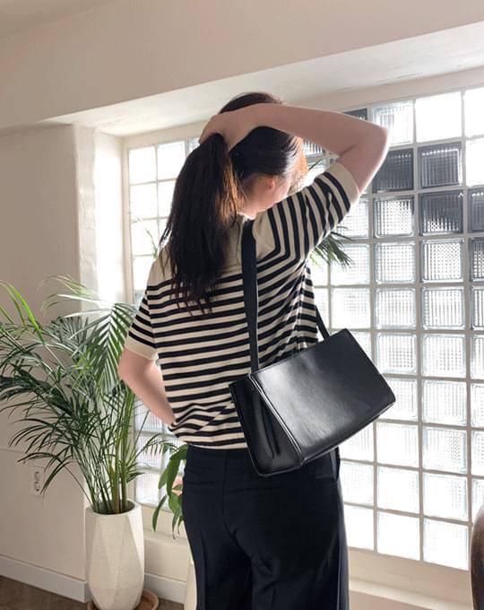 Moble Viscose Stripe Short Sleeve Knitwear - 3 color