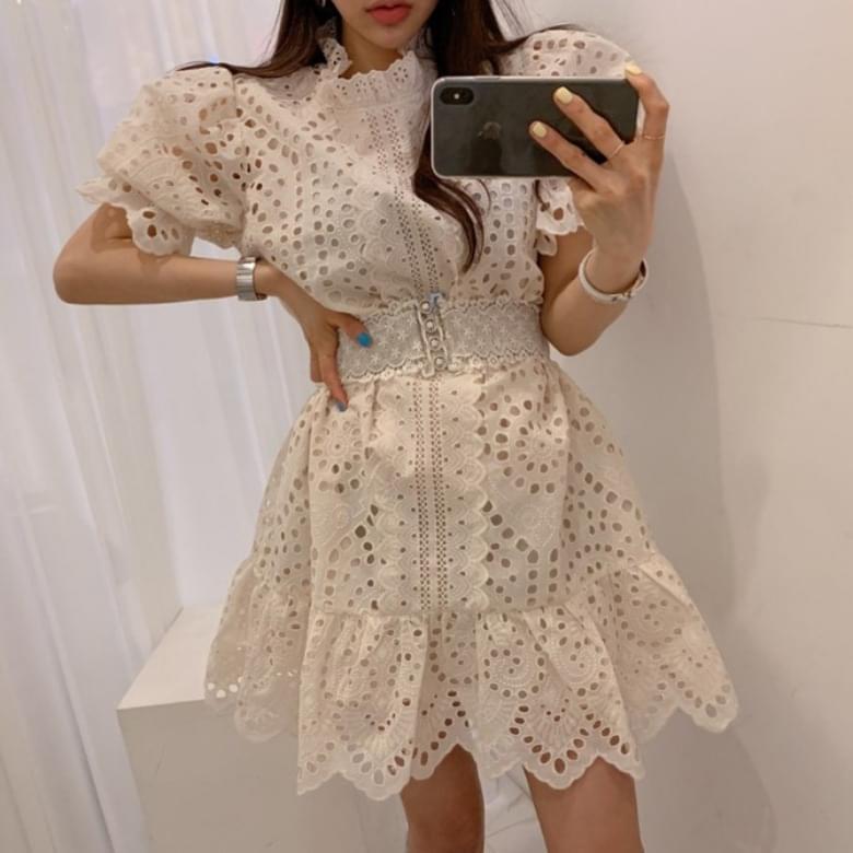 Luxury Punching Belt Lace Dress
