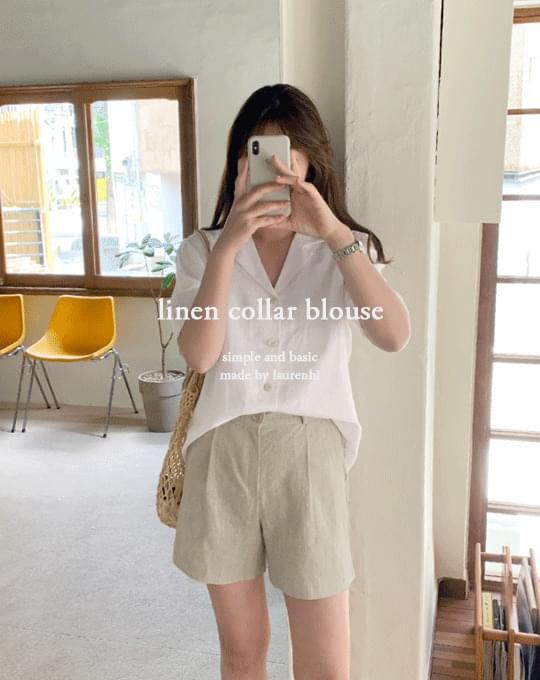 韓國空運 - Amuse Linen Double Collar Blouse - 3 color 襯衫