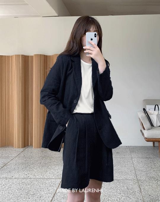 韓國空運 - Natural Linen Two Pin Tuck Pants - 3 color 短褲