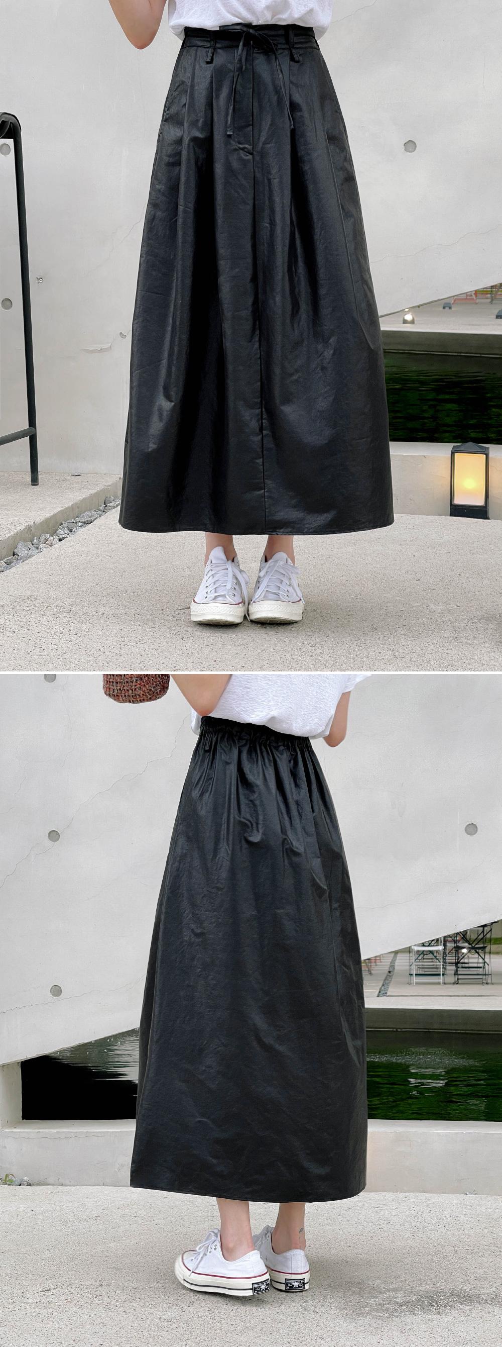 Amel Coated Banding Long Skirt