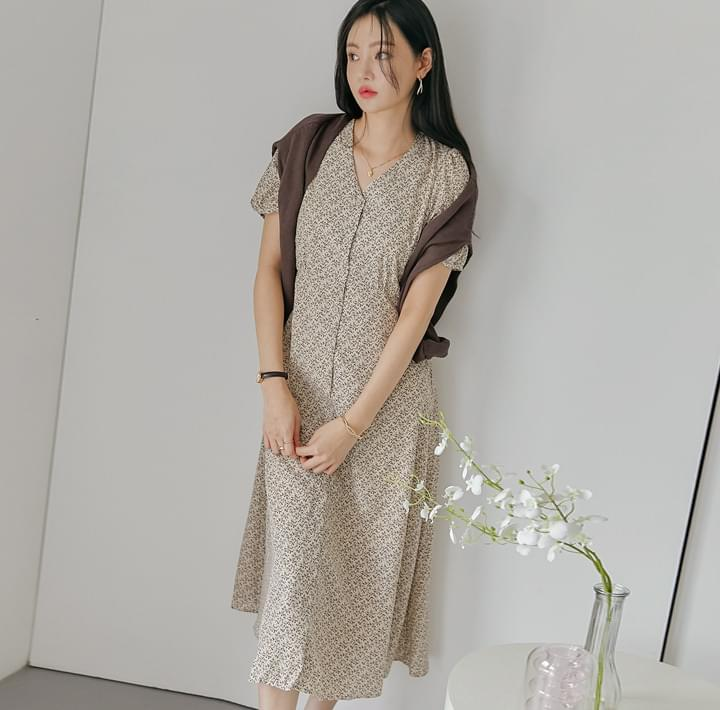Ditsy Pattern Short Sleeve Dress (Delayed delivery)