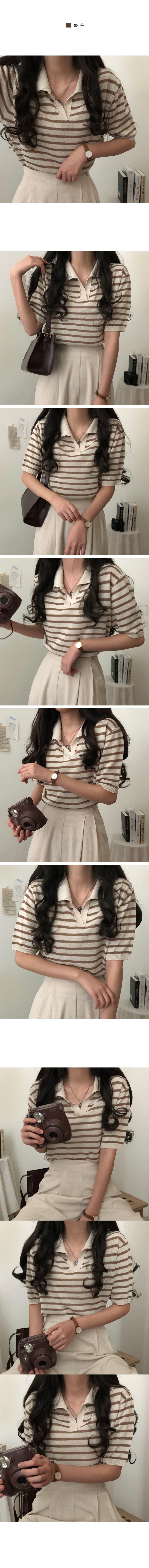 Trio Linen Striped Collar Short Sleeve Knitwear