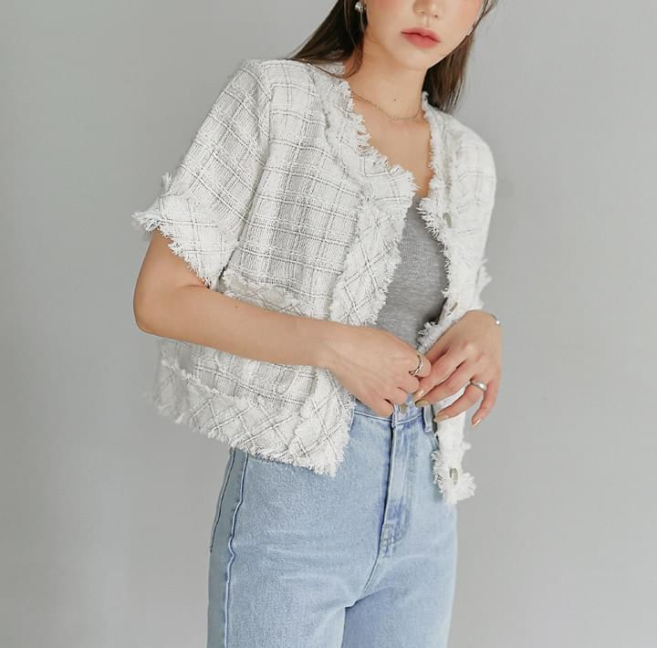 Check Pattern Tweed Jacket