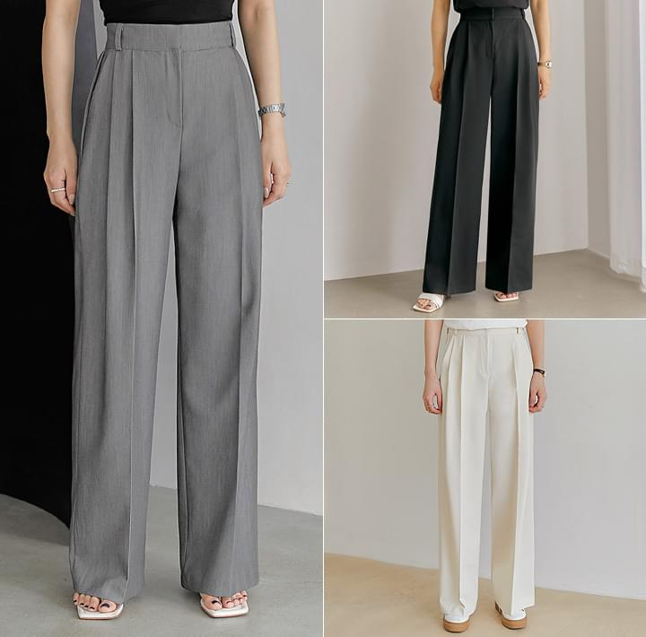 Pleat Accent High Waist Slacks (Delayed delivery)