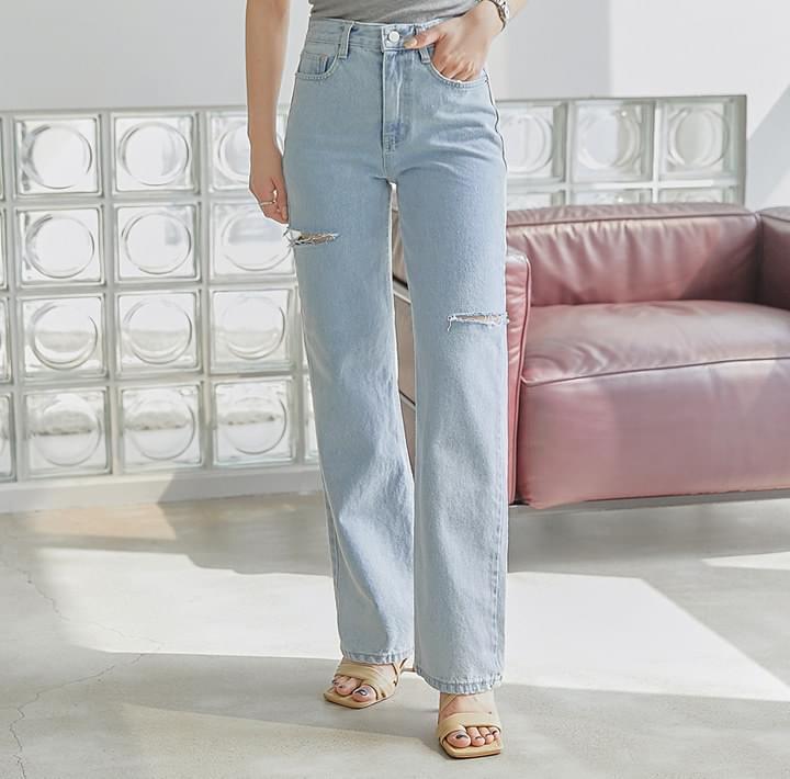 Slash Accent Straight Jeans