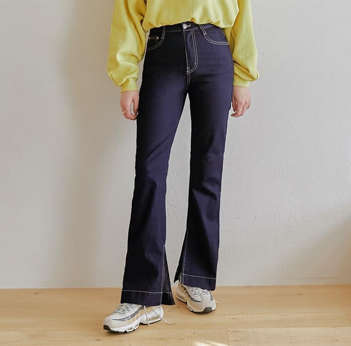 Contrast Stitch Side Slit Bootcut Jeans