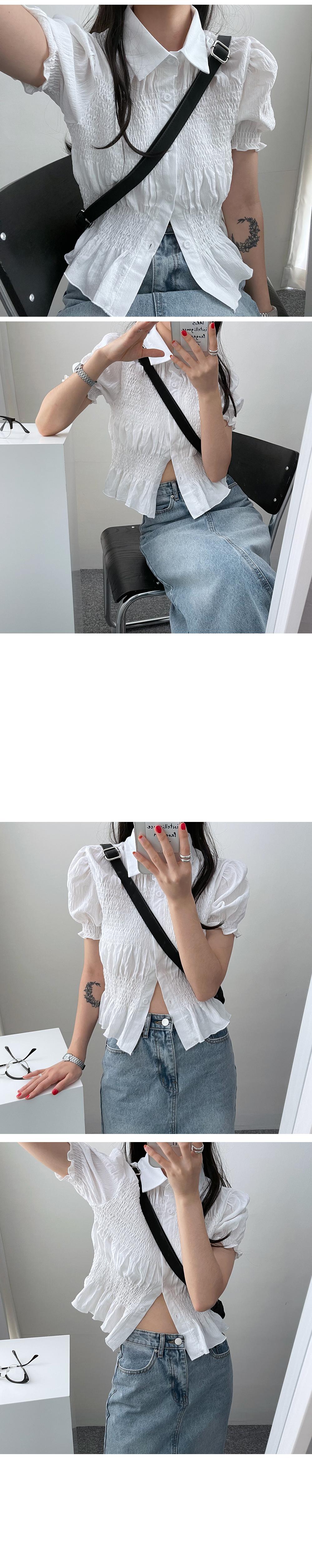 皺褶感短袖襯衫