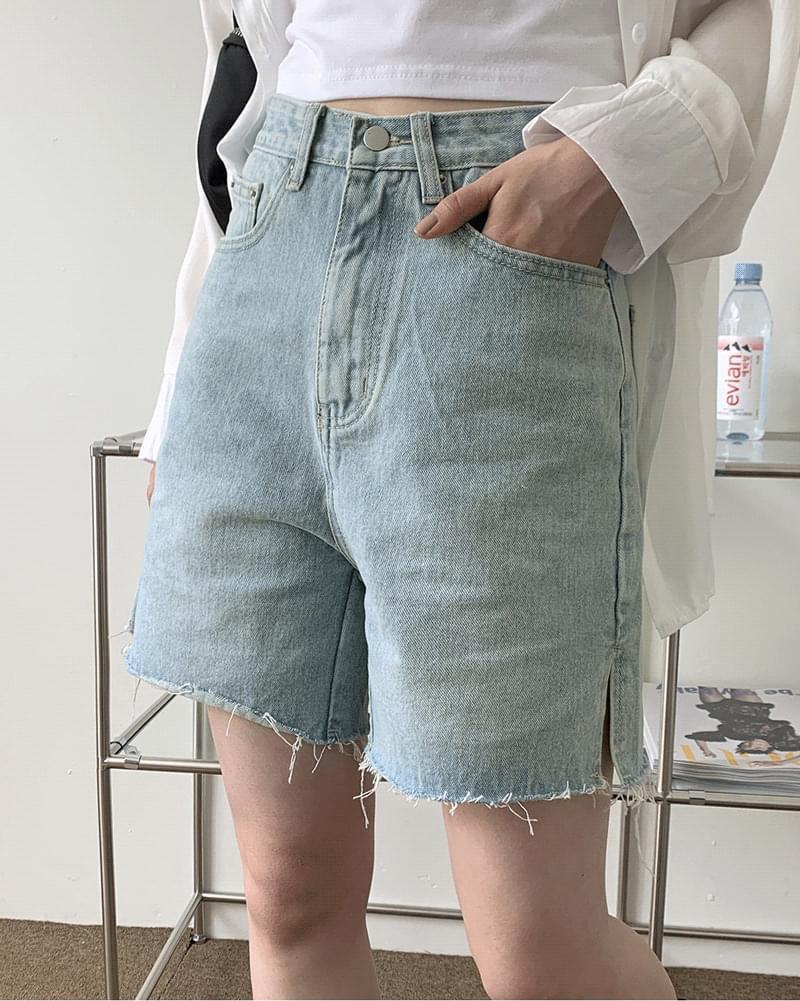 Daph 5 side slit Faded denim pants