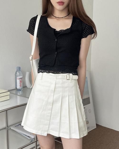 Runti Buckle White Pleated Skirt