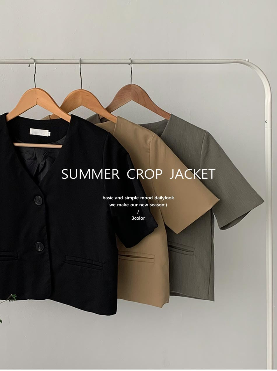 no-collar cropped short sleeve jacket