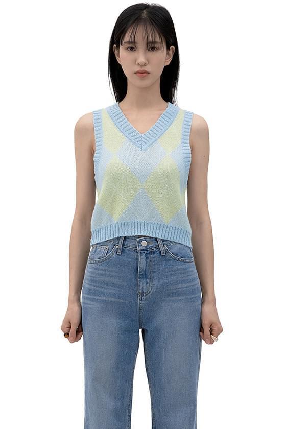 Sky Argyle Knitwear Top