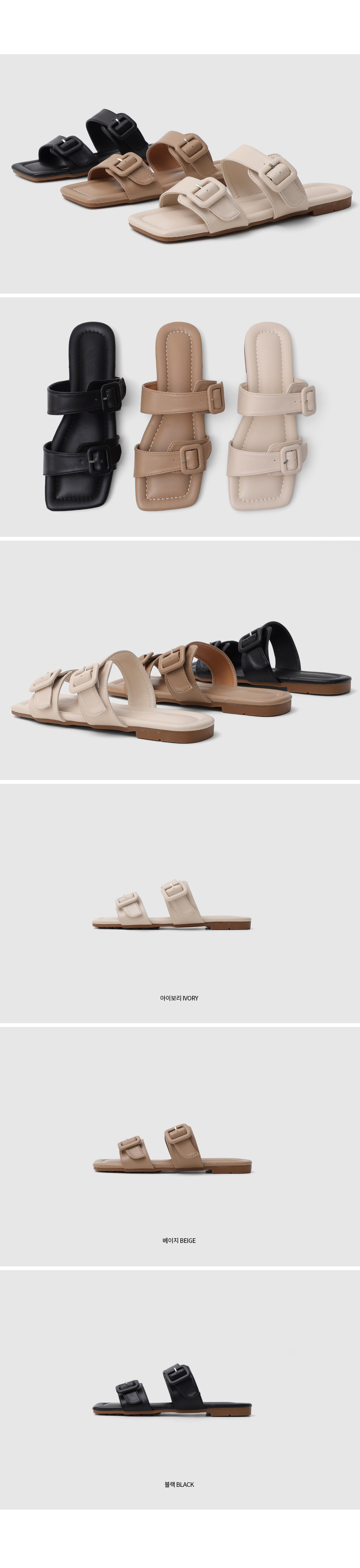 Double Buckle Strap Slippers 10973