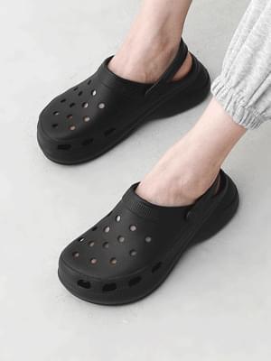 Punching hole EVA full-heel tall slippers sandals 10994