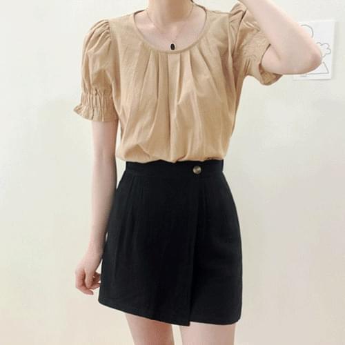 Linen Salang A-Line Wrap Mini Skirt Pants P#YW631