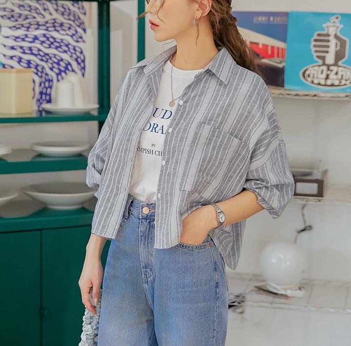 Stripe Pattern Boxy Shirt