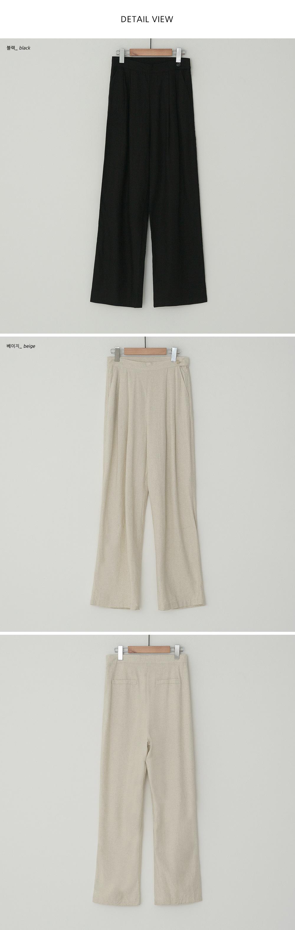 Rosie Two Pin Tuck Wide Linen Slacks