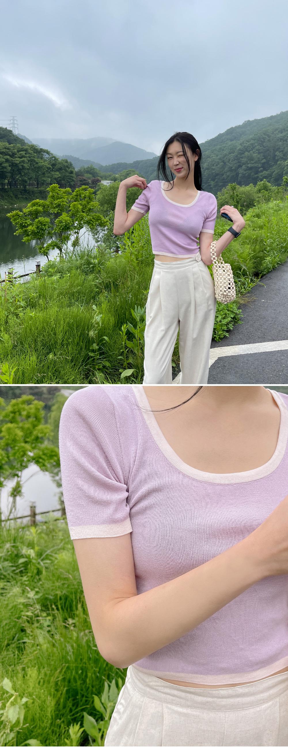 Fiona Bias U Neck Crop Short Sleeve Knitwear