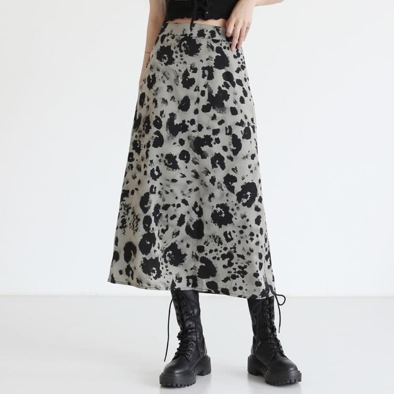 Radial Leopard Long Skirt