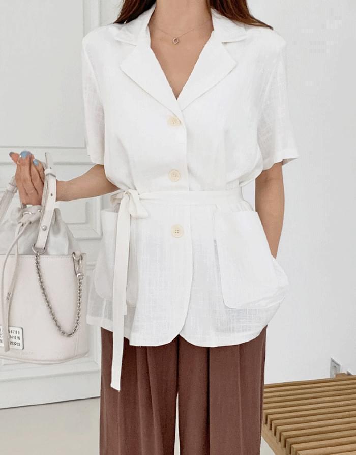 Modern Linen Belt Short Sleeve Jacket