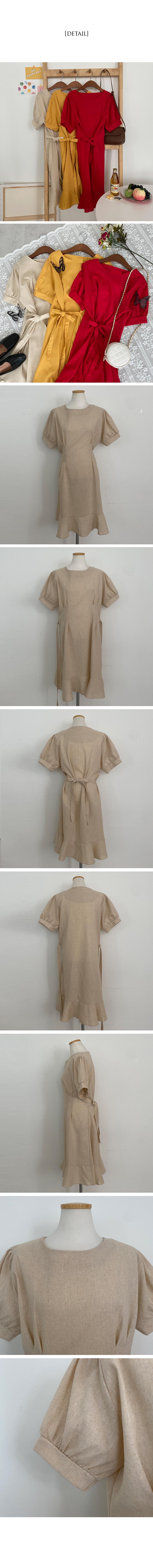 Cicaberry Mermaid Linen Ruffle Dress