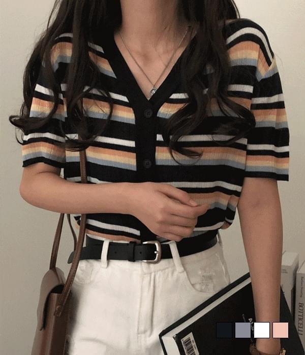 Rainbow color stripe short sleeve cardigan