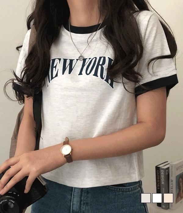 Color lip New York color matching cropped short sleeve T-shirt