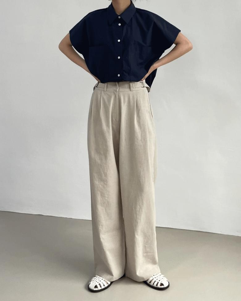 Linen Pintuck Bijou Wide Pants