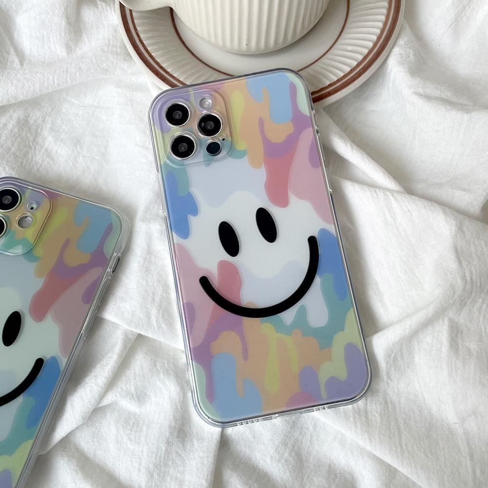 半透明彩色笑臉IPhone手機殼