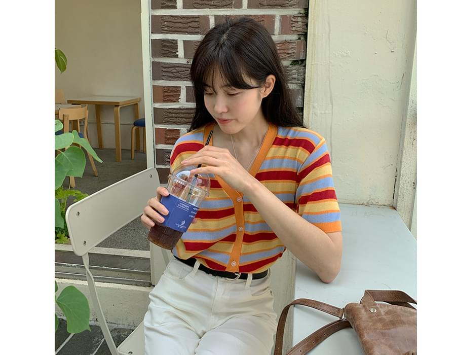 color stripe short sleeve cardigan