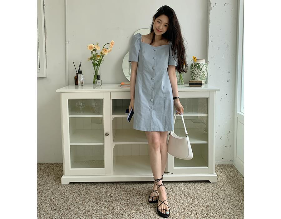 Square Purlinnen Mini Dress