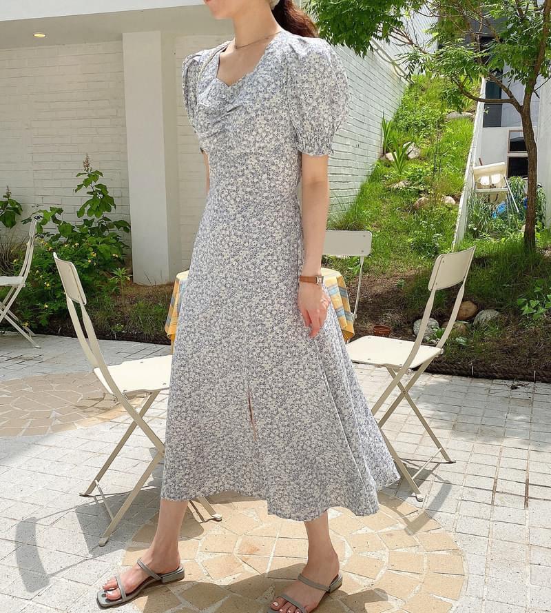 pure flower shirring Dress