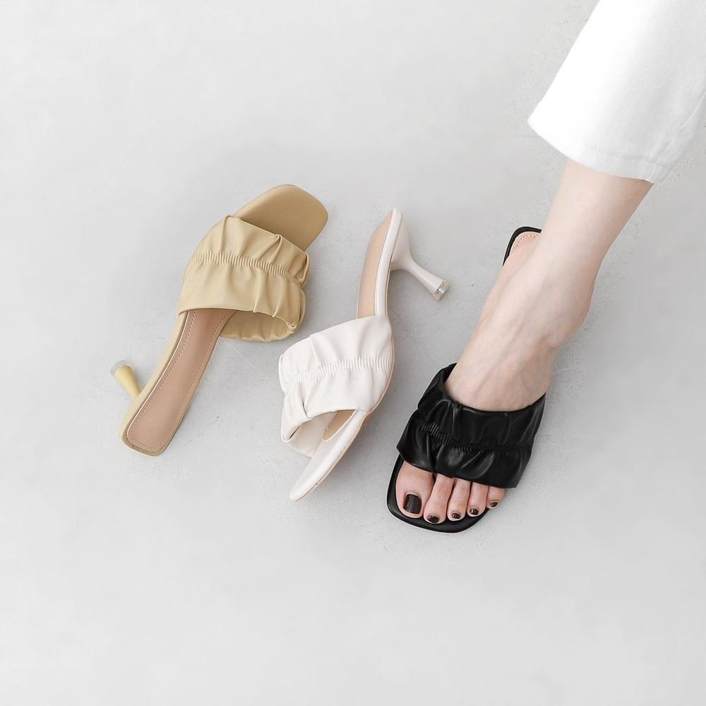 Wide shirring strap transparent heel open mules sandals 10997 ♡ 1st sold out♡