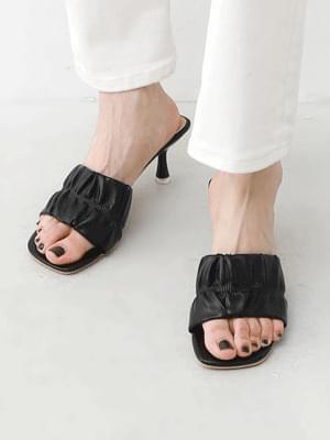 Wide Shirring Strap Transparent Heeled Open Mule Sandals 10997
