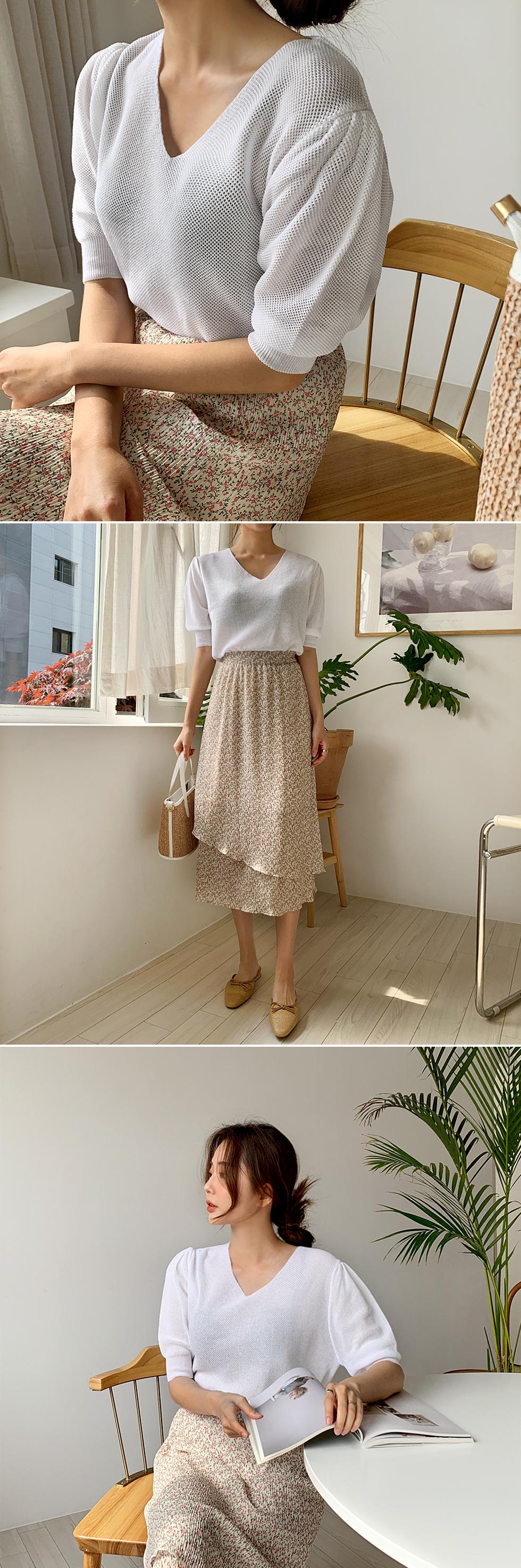 Rose Shirring Knitwear