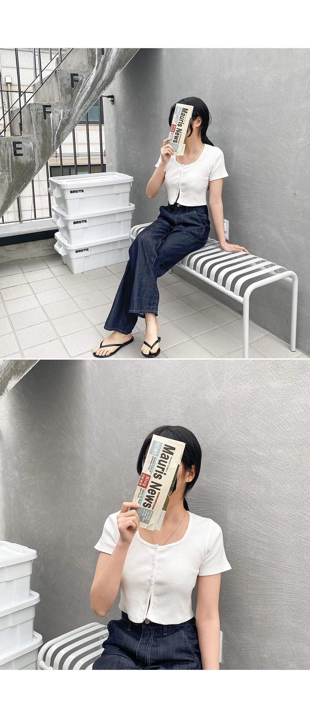 方領排釦螺紋短版上衣