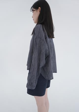 cropped check shirts (2colors)