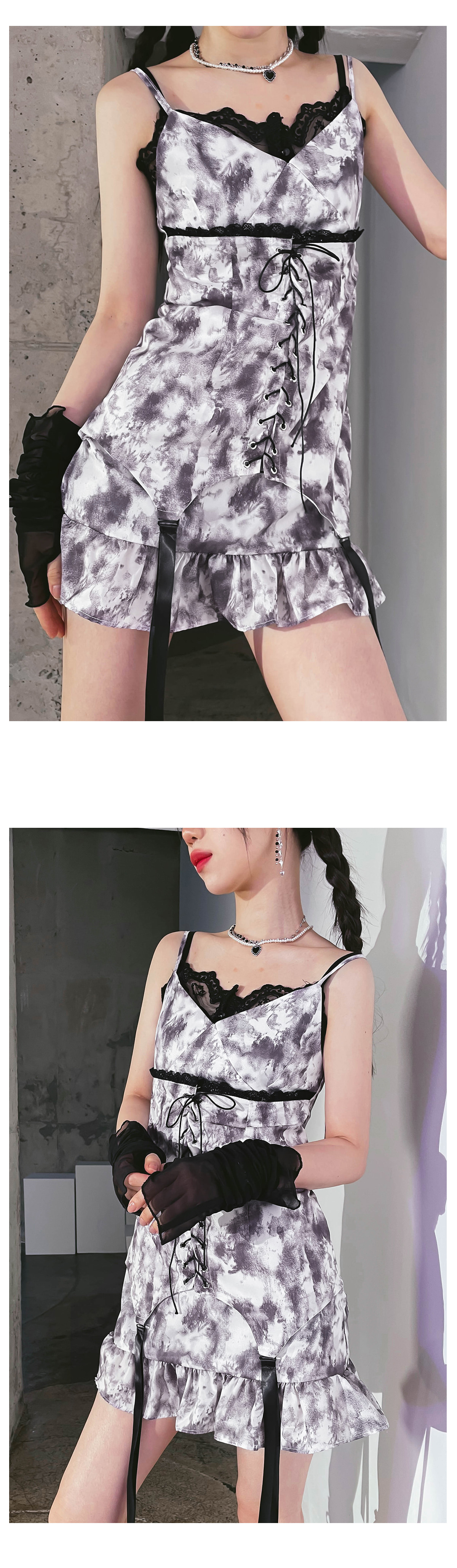 tie-dye strap mini Dress