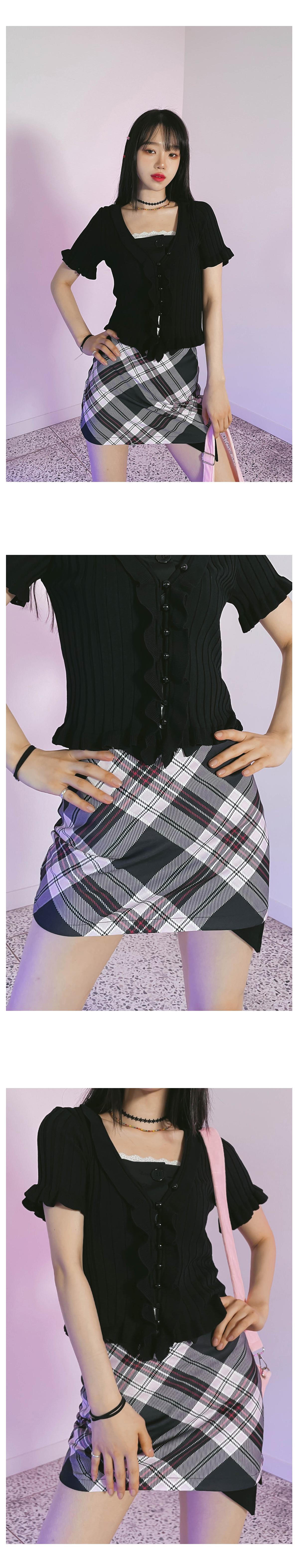 check fuzz mini skirt